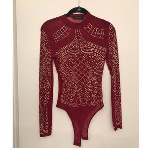 Tops - Akira Red Mesh Bodysuit